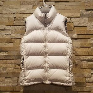 North Face Womens Small White Nuptse Vest Jacket 700 Down Winter Puffer Ladies S